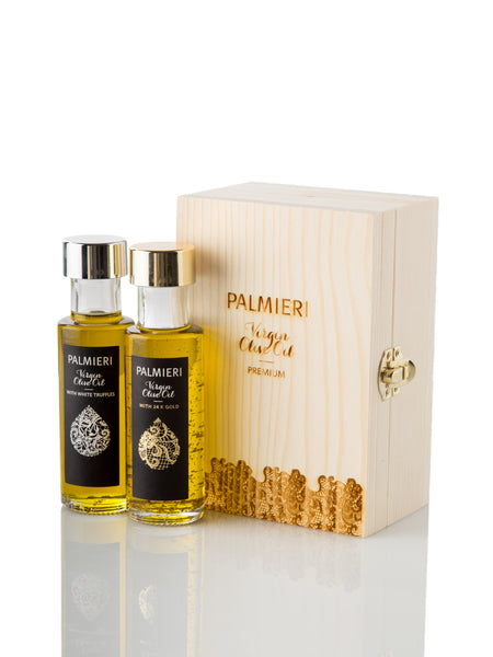 Set of 2 Virgin olive oil - white truffle & 24K gold and white truffle
