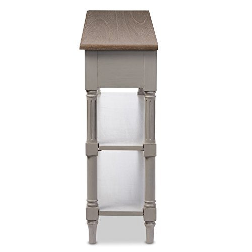 Baxton Furniture Studios Edouard French Provincial Style Distressed Two Tone 2 Drawer Console Table, White Wash