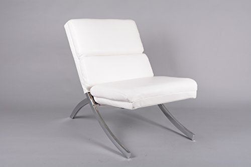 White Bonded Leather Chrome Metal Frame Contemporary Accent Lounge Chair