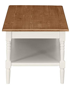 "Amazon Brand �Ravenna Home Amber Rustic Farmhouse Shelf Coffee Table, 44""W, Natural and White"