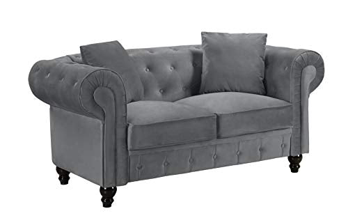 Divano Roma Furniture Classic Modern Scroll Arm Velvet Chesterfield Love Seat Sofa (Grey)