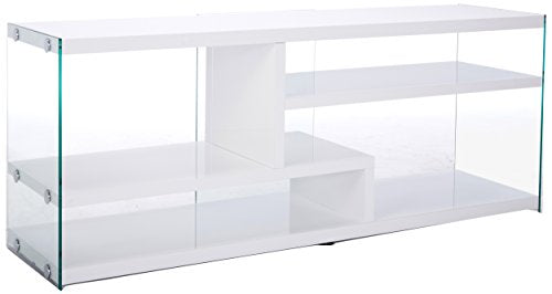 Monarch Specialties Glossy with Tempered Glass TV Stand, 60