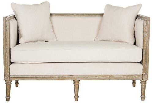 Safavieh Home Collection Leandra French Country Settee, Beige/Rustic Oak