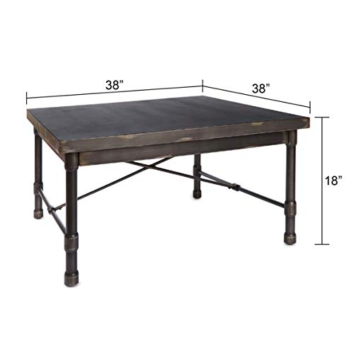 "Silverwood FT1155-COM Oxford Industrial Collection Square Coffee Table, 38"" L x 38"" W x 18"" H"
