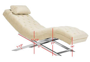 Safavieh Home Collection Monroe Beige Velvet and Chrome Chaise with Headrest Pillow