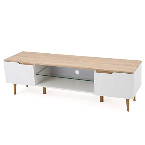 Reginald Mid Century Modern TV Stand (White with Natural Finish)