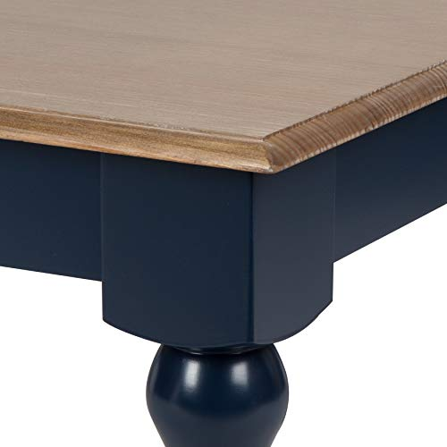 Kate and Laurel Sophia Rustic Wood Top Coffee Table, Navy Blue