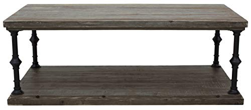 "Amazon Brand – Ravenna Home Jessica Rustic Open Storage Coffee Table, 43.3""W, Grey Pine"