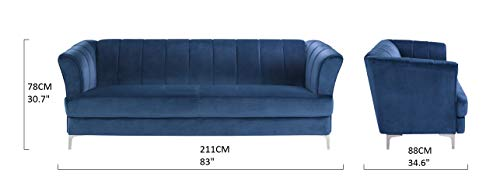 Elegant Classic Living Room Velvet Sofa - Colors Blue, Green, Grey, Red (Blue)