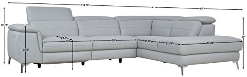"Homelegance 113"" x 85"" Leather Reclining Sectional Sofa, Gray"