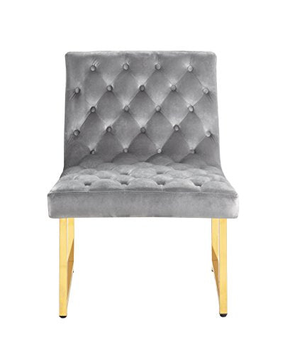 Iconic Home Moriah Accent Chair Sleek Elegant Tufted Velvet Upholstery Plush Cushion Brass Finished Polished Metal Frame, Contemporary Modern, Grey