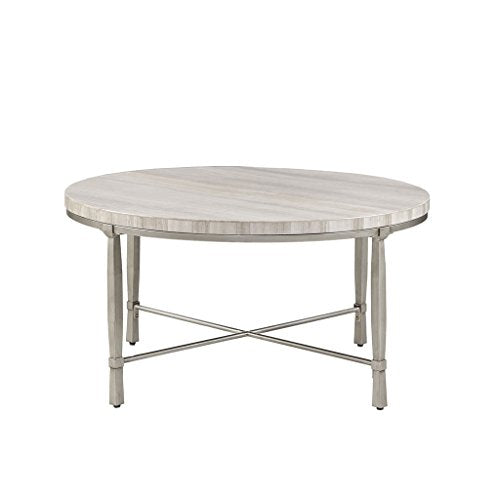 "Madison Park Reese Accent Round Marble Veneer Top, Metal Base Mid-Century Modern Style Coffee Table, 34"" Wide, Silver/Cream"