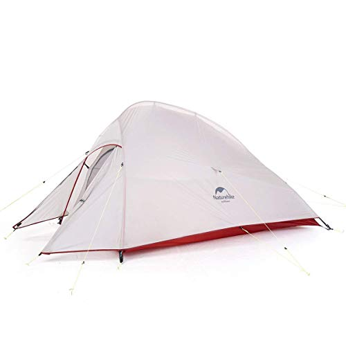 Naturehike Cloud-Up 2 Person Lightweight Backpacking Waterproof Tent Easy Setup - 4 Season for Outdoor Camping,Backpacking,Hiking,Mountaineering Travel(Grey(20D Nylon))