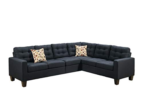 Poundex F6937 Bobkona Burril Linen-Like 4 Piece Left or Right Hand Reversible Sectional Set, Black