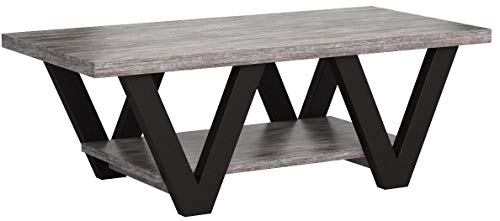 Coaster Home Furnishings Angled Leg Coffee Table, Black and Grey