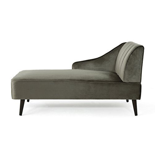 Christopher Knight Home Auley Glam Velvet Chaise Lounge, Grey / Dark Walnut