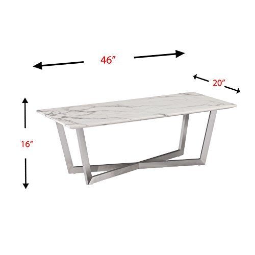 SEI Furniture Wrexham Faux Marble Coffee Table, Soft Ivory/Gray/Brushed Nickel