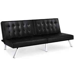 Best Choice Products Modern Leather Reclining Futon Sofa Bed Couch Lounger Sleeper Furniture w/Chrome Legs - Black