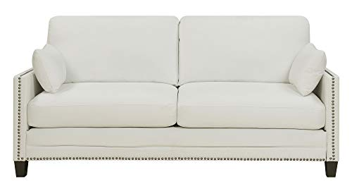 Elle Decor Bella Sofa with Nailheads, Fabric, Ivory