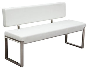 Diamond Sofa Bench with Back and Stainless Steel Frame in White