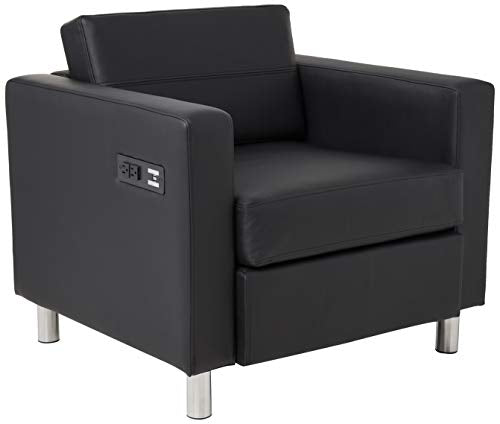 Office Star Atlantic Armchair with Silver Finish Legs and Charging Station, Black Dillon Fabric