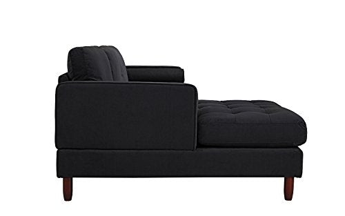 Divano Roma Furniture Mid-Century Modern Tufted Velvet Sectional Sofa, L-Shape Couch with Extra Wide Chaise Lounge (Black), Large