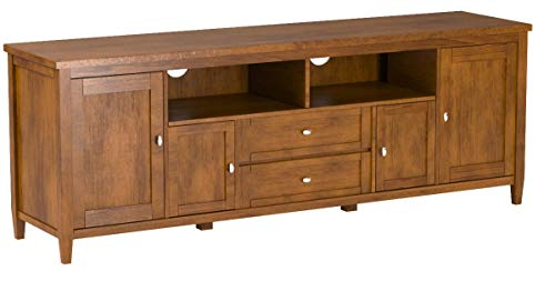"Simpli Home Warm Shaker SOLID WOOD Universal TV Media Stand, 72 inch Wide, Farmhouse Rustic, Living Room Entertainment Center, Shelves, Cabinets, for Flat Screen TVs up to 80"", Honey Brown"