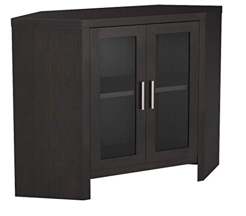 "Monarch Specialties Cappuccino Corner with Glass Doors TV Stand, 42"", Brown"