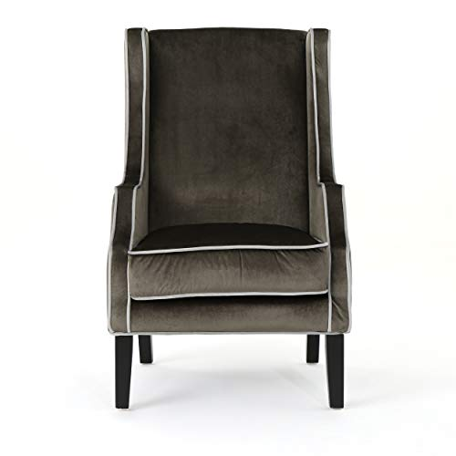 Christopher Knight Home Eddison Traditional Velvet Two-Toned Club Chair with Accent Piping, Grey / Horizon Grey / Espresso