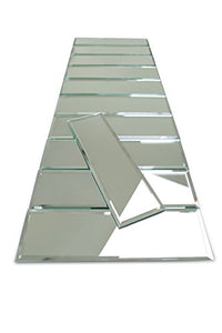 "3"" x 10"" Subway Mirror Glass Tile with Beveled Edge for Kitchen Backsplash/Bathroom 55 Pieces Per Box (12sq/ft)"