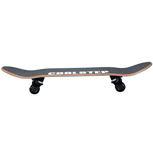Coolstep Pro Skateboard 8-inch Full Complete for Trick Beginners, Cool Design (Gold)