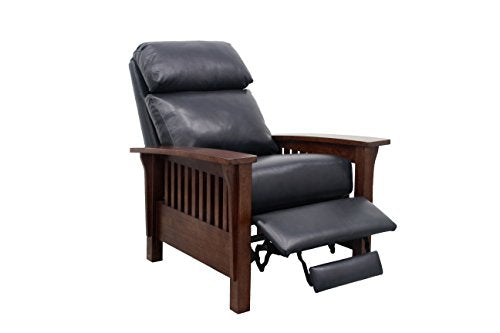 BarcaLounger Mission Manual Push Back Leather Recliner Chair Shoreham Blue