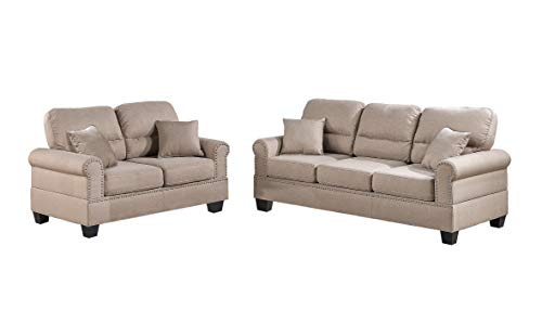 Poundex F7879 Bobkona Shelton Linen-Like 2 Piece Sofa and Loveseat Set, Sand