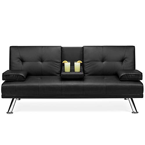 Best Choice Products Modern Faux Leather Convertible Futon Sofa w/Removable Armrests, Metal Legs, 2 Cupholders - Black