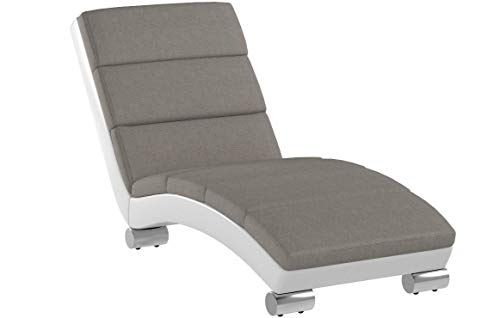 Baxton Studio Percy Modern Contemporary Grey Fabric and White Faux Leather Upholstered Chaise Lounge, Medium, Gray