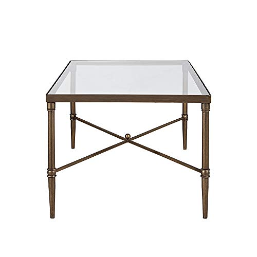 Madison Park Signature Porter Accent Tables Rectangular Tempered Glass Tabletop with Metal Frame Mid-Century Modern Luxe Interior Design Living Room Furniture, Bronze