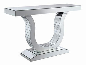 "Coaster Home Furnishings Coaster Contemporary U Shaped Base Silver Console Table with Mirrored Panels, 47.25""L x 14""W x 31.5""H,"