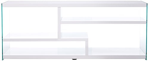 "Monarch Specialties Glossy with Tempered Glass TV Stand, 60"", White"
