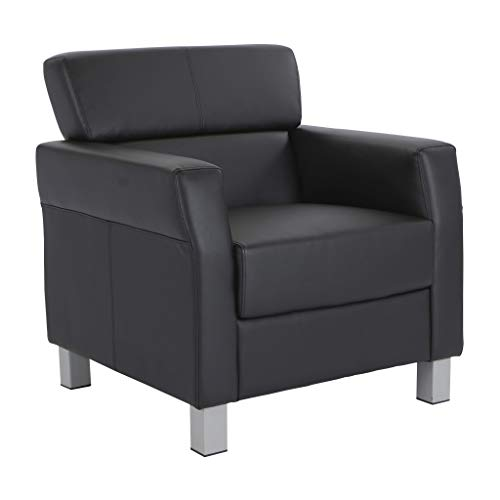 Office Star Bonded Leather Club Chair with Silver Legs, Black