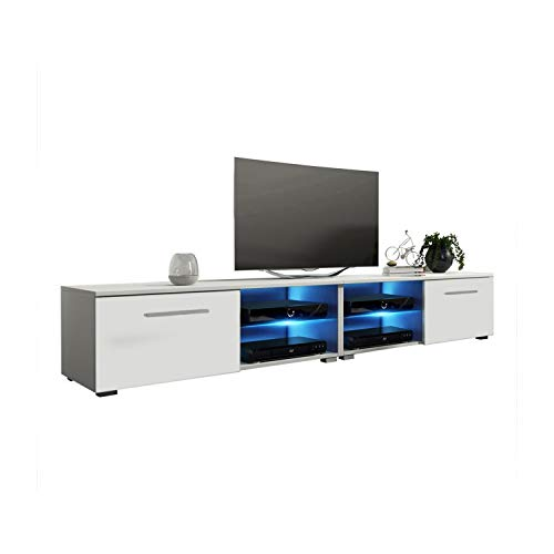 MEBLE FURNITURE & RUGS New Moon Modern TV Stand Matte Body High Gloss Doors with 16 Color LED (White, 81