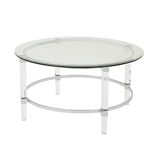 Christopher Knight Home Elowen Modern Round Tempered Glass Coffee Table with Acrylic and Iron Accents, Clear
