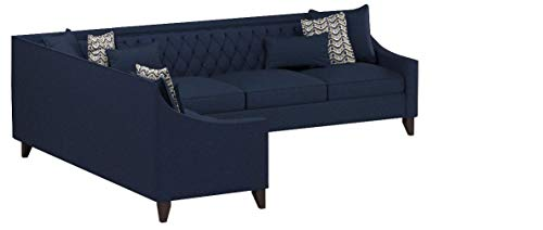 Iconic Home Aberdeen Linen Tufted Down Mix Modern Contemporary Right Facing Sectional Sofa, Navy