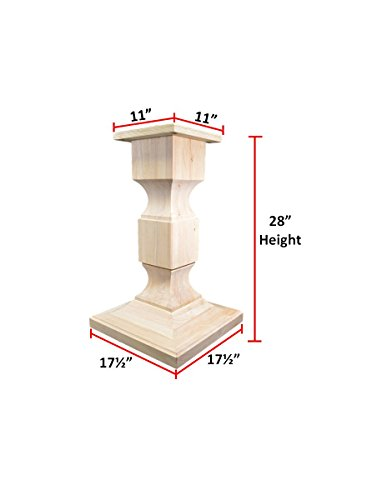 "BingLTD - 28"" Tall Chelsea Square Pedestal Table Base (WH-Chelsea28-UNF)"