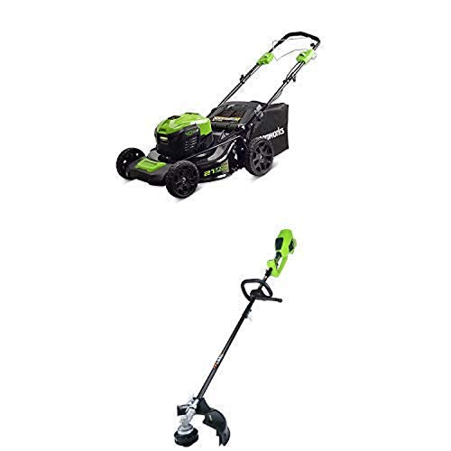 Greenworks 21-Inch 40V Self-Propelled Cordless Lawn Mower with 14-Inch 40V Cordless String Trimmer (Attachment Capable) Battery Not Include