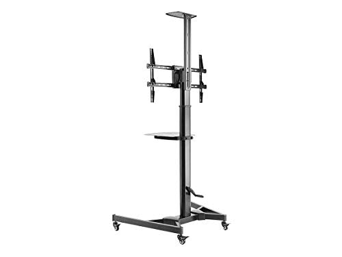 Monoprice Premium Mobile Tilt TV Wall Mount Bracket Stand Cart with Media Shelf Bracket - for TVs 37in to 70in Max Weight 110lbs Rotating Height Adjustable