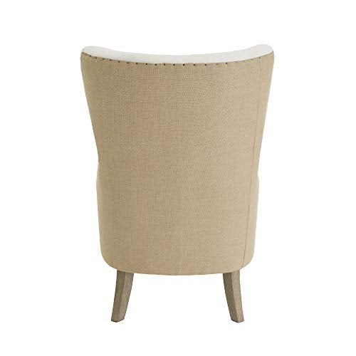 Tommy Hilfiger Warner Wingback Upholstered Accent Chair Modern Farmhouse Reading High Back Armchair for Living Room, Two-Toned Fabric, Beige