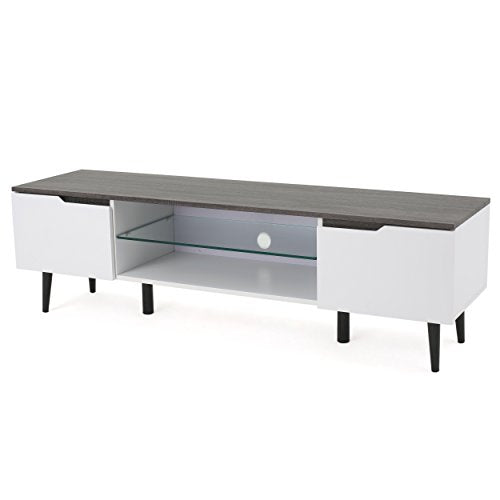 Christopher Knight Home Rowan Wood TV Stand, White Matte / Grey Finished