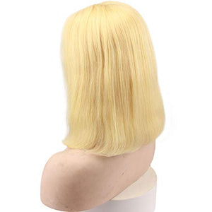 Rossy&Nancy Pre Plucked #613 Blonde Short Bob 13x4 Lace Front Wigs Glueless 150% High Density Silk Straight Brazilian Virgin Human Hair with Baby Hair for Women