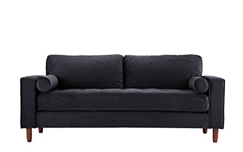 Mid Century Modern Velvet Fabric Sofa, Couch with Bolster Pillows (Black)