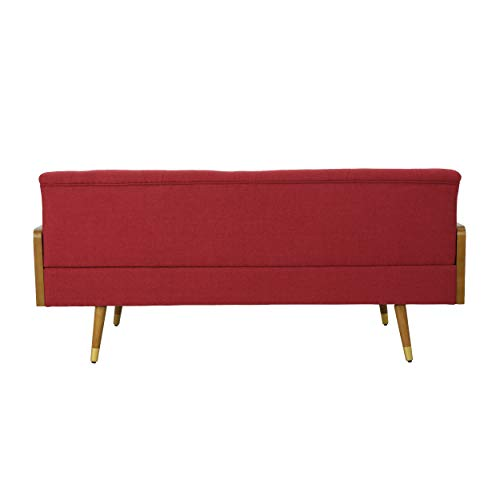 Christopher Knight Home Aidan Mid Century Modern Tufted Fabric Sofa, Red